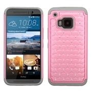 Insten Hard Hybrid Rugged Shockproof Rubber Coated Silicone Cover Case w/Diamond For HTC One M9 - Pink/Gray
