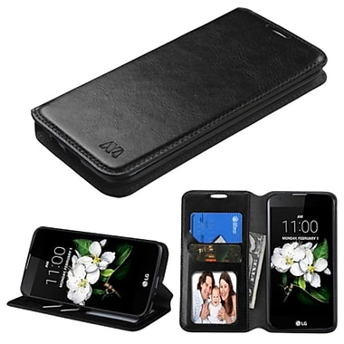 Insten Flip Leather Fabric Cover Case w/stand/card holder/Photo Display For LG K7 K8 - Black