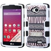 Insten Zebra Tuff Hard Hybrid Shockproof Case Cover Stand Kitstand Shell Skin For LG Optimus F60 - Brown/Black