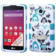 Insten Cutedogs Tuff Hard Hybrid Shockproof Case Cover Stand Kitstand Shell Skin For LG Optimus F60 - White/Blue