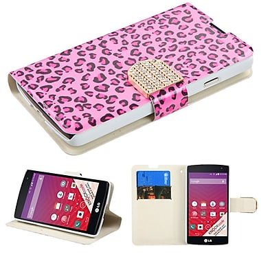 Insten Book-Style Leather Fabric Cover Case With Stand And Card Slot/Diamond For LG Optimus F60, Hot Pink/Black (2092220)