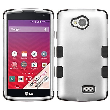 Insten Tuff Hard Hybrid Rugged Shockproof Rubber Silicone Cover Case For LG Optimus F60 - Gray/Black