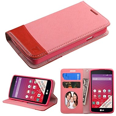 Insten Flip Leather Fabric Case With Stand/Card Slot/Photo Display For LG Optimus F60, Pink/Red (2121075)