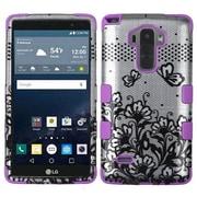 Insten Tuff Lace Flowers Hybrid Soft Hard Case Cover (3-Piece Style) for LG G Stylo / G Vista 2 - Black/Purple