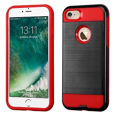 Insten Dual Layer Soft TPU Hard Plastic Ultra Slim Case For iPhone 7, Black/Red (2271104)