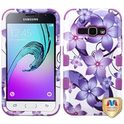 Insten Tuff Hibiscus Flower Romance Hard Hybrid Rubber Cover Case For Samsung Galaxy Amp 2 / J1 (2016) - Purple/White
