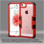 Insten Hard Hybrid Clear Crystal Silicone Bumper For Apple iPhone SE / 5 / 5S - Red/Black