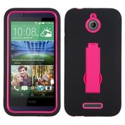 Insten Symbiosis Gel Dual Layer Rubber Hard Case w/stand For HTC Desire 510 - Hot Pink/Black