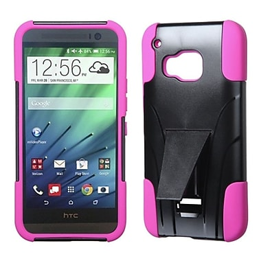 Insten Hard Hybrid Rugged Shockproof Plastic Silicone Case with Stand For HTC One M9 - Black/Hot Pink