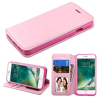 Insten Folio Leather Cover Stand with card slot & photo display For Apple iPhone 7 - Pink