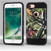Insten Oak Leaves 2-Layer Hybrid Hard TPU Case For iPhone 7 - Green/Black