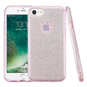 Insten Bling Glitter Hybrid Hard Plastic / Soft Flexible Rubber Case For iPhone 7 - Pink