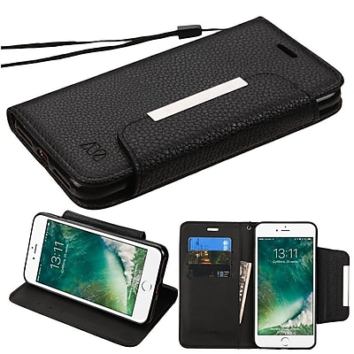 Insten Black Book-Style Leather Wallet Case with Lanyard For iPhone 7/ 8 4.7