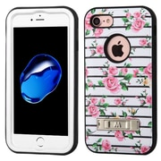 Insten Verge Fresh Roses Hard Dual Layer Rubber Silicone Cover Case For Apple iPhone 7 - Pink/White