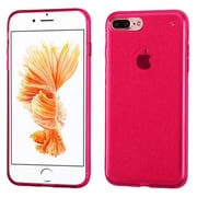 Insten Transparent Hot Pink Bling Glitter Flexible TPU Rubber Skin Case For Apple iPhone 7 Plus