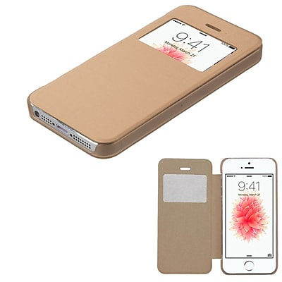 Insten Flip Leather Fabric Cover Case For Apple iPhone SE / 5 / 5S - Gold