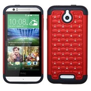 Insten Hard Hybrid Rugged Shockproof Rubber Coated Silicone Case w/Diamond For HTC Desire 510 - Red/Black