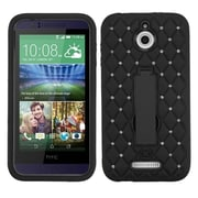 Insten Symbiosis Gel Dual Layer Rubber Hard Case w/stand/Diamond For HTC Desire 510 - Black