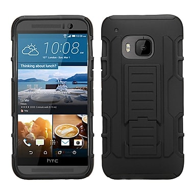 Insten Car Armor Hard Dual Layer Plastic Silicone Case w/stand For HTC One M9 - Black
