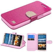 Insten Flip Leather Glitter Cover Case w/stand/card holder/Diamond For HTC One M9 - Hot Pink/Gold