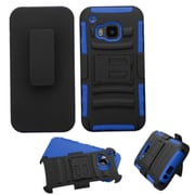 Insten Hard Hybrid Rugged Shockproof Plastic Silicone Cover Case w/Holster For HTC One M9 - Black/Blue