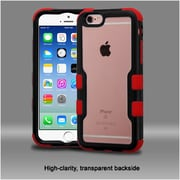Insten Hard Hybrid Crystal Silicone Case For Apple iPhone 6 / 6s - Clear/Red