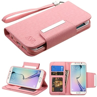 Insten Folio Leather Fabric Cover Case Lanyard w/stand/card holder/Photo Display For Samsung Galaxy S6 Edge - Pink