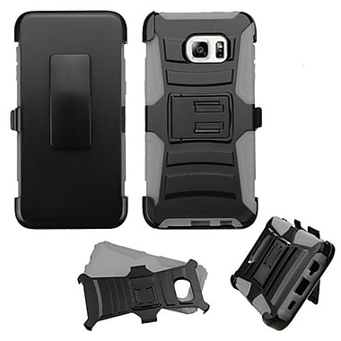 Insten Hard Dual Layer Plastic Silicone Cover Case w/Holster For Samsung Galaxy S6 Edge Plus - Black/Gray