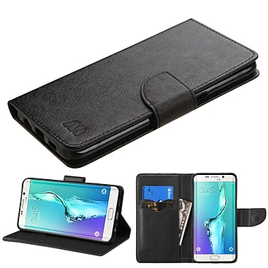 Insten Folio Leather Fabric Case w/stand For Samsung Galaxy S6 Edge Plus - Black