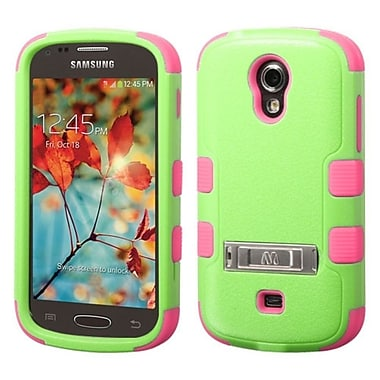Insten Hard Dual Layer Rubber Coated Silicone Cover Case w/stand For Samsung Galaxy Light - Green/Hot Pink