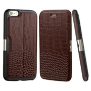 Insten Crocodile Folio Genuine Leather Case w/card holder For Apple iPhone 6 Plus/6s Plus - Brown/Black