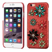 Insten Flowers Leather 3D Fabric Hard Case w/Diamond For Apple iPhone 6s Plus / 6 Plus - Red/Colorful