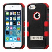 Insten Hard Hybrid Rubber Silicone Case w/stand For Apple iPhone SE 5S 5 - Black/Red