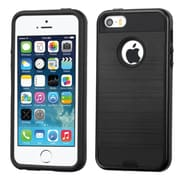 Insten Hard Dual Layer Silicone Cover Case For Apple iPhone 5/5S/SE - Black