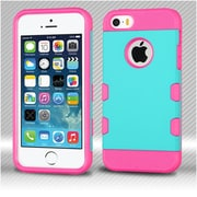 Insten Dual Layer Hybrid Shockproof Protection Case TPU Hard Shell Cover For iPhone SE / 5 / 5S - Teal/Hot Pink