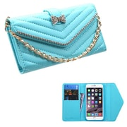 Insten Folio Leather Fabric Cover Case Chain w/card slot/Diamond For Apple iPhone 6 Plus - Blue