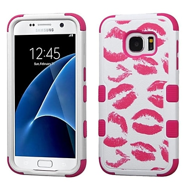 Insten Tuff Kisses Hard Hybrid Rubber Silicone Case For Samsung Galaxy S7 - Hot Pink/White