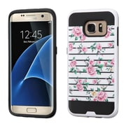 Insten Fresh Roses Hard Hybrid Rubberized Silicone Cover Case For Samsung Galaxy S7 Edge - Pink/White
