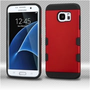 Insten Hard Rubber Silicone Cover Case For Samsung Galaxy S7 Edge - Red/Black