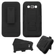 Insten Hard Dual Layer Plastic Silicone Cover Stand with Holster For Samsung Galaxy E5 - Black