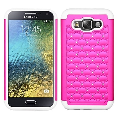 Insten Hard Hybrid Shockproof Rubberized Silicone Cover Case w/Diamond For Samsung Galaxy E5 - Hot Pink/White