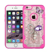 Insten Butterfly Hard 3D Crystal Case w/Diamond For Apple iPhone 6 Plus/6s Plus - Clear/Hot Pink