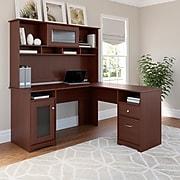 Bush Furniture Cabot 60W L Shaped Computer Desk with Hutch, Harvest Cherry (CAB001HVC)
