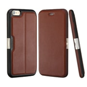 Insten Genuine Leather Wallet Case Stand Cover with Card Slot For iPhone 6s 6 - Brown/Black (Premium Quality)