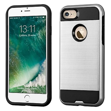 Insten Dual Layer Soft TPU Hard Plastic Ultra Slim Case For iPhone 7/ 8, Silver/Black (2271101)