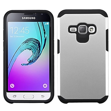 Insten Hard Dual Layer Rubberized Silicone Cover Case For Samsung J1/Galaxy Amp 2, Silver/Black (2235469)