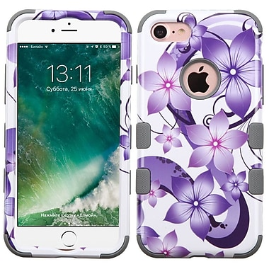 Insten Tuff Hibiscus Flower Romance 3-Layer Silicone Hard Hybrid Case For Apple iPhone 7 - Purple/White