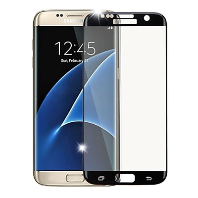 Insten Clear Tempered Glass Screen Protector For Samsung Galaxy S7 Edge, Black (Full Coverage Edges)