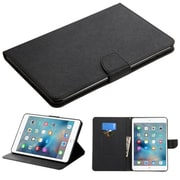 Insten Book-Style Leather Fabric Cover Case w/stand/card slot For Apple iPad Mini 4 - Black