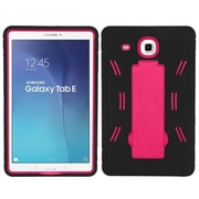 Insten Symbiosis Rubber Hybrid Hard Cover Case w/stand For Samsung Galaxy Tab E 9.6 - Black/Hot Pink